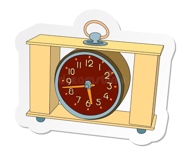 Autocollant de l'horloge de table rectangulaire dans le style plat de bande dessinée d'isolement sur le fond blanc illustration de vecteur