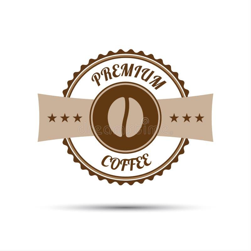 Autocollant de la meilleure qualité de café d'isolement sur le fond blanc illustration libre de droits