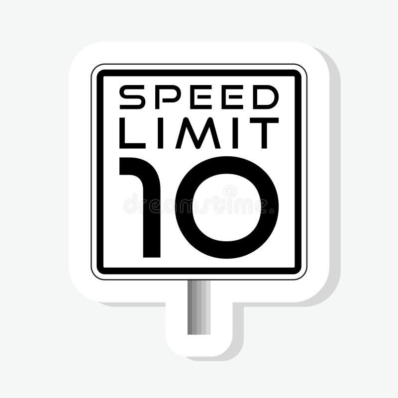 Autocollant de limitation de vitesse de panneau routier illustration de vecteur