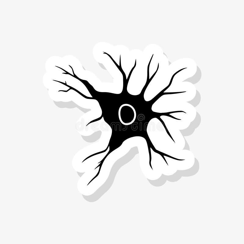 Autocollant de neurone d'isolement sur le fond blanc Signe simple d'icône de neurone illustration de vecteur