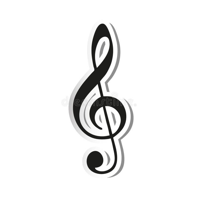 Autocollant de note de Musik - illustration de vecteur - d'isolement sur le fond blanc illustration libre de droits