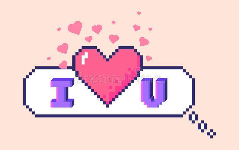 Autocollant de pixel je t'aime illustration de vecteur