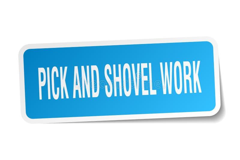 autocollant de place de travail de sélection et de pelle illustration stock