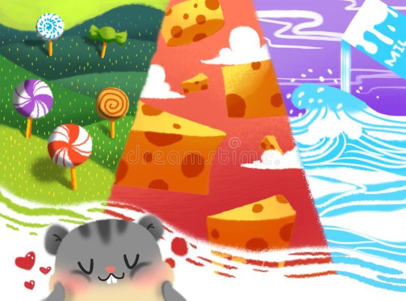 Autocollant de rêve du ` s de chat illustration de vecteur