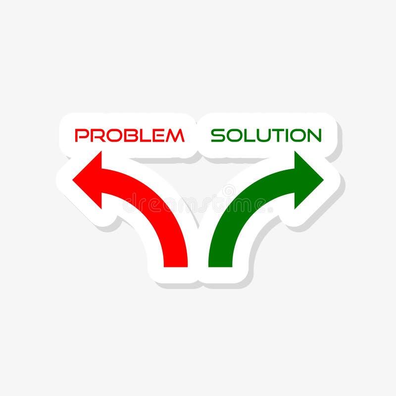 Autocollant de solution de problème d'isolement sur le fond blanc Signe simple d'icône de solution illustration de vecteur