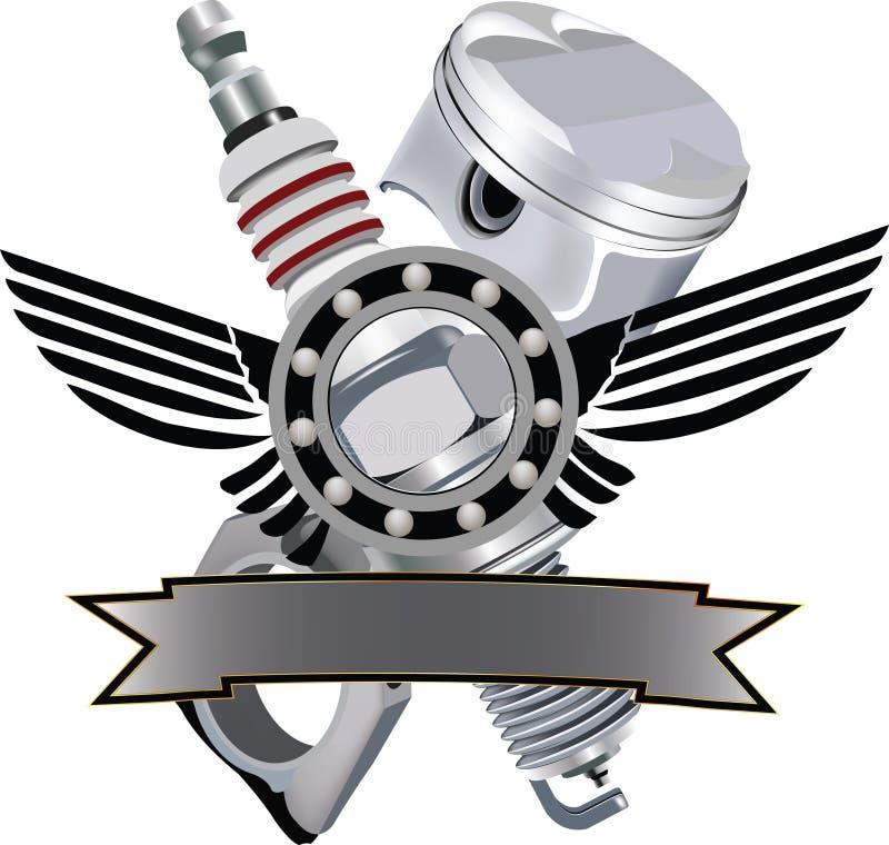 Autocollant de symbole de moto avec les ailes et la bougie illustration stock