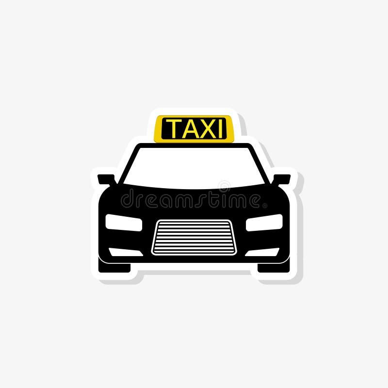 Autocollant de taxi d'isolement sur le fond blanc ic?ne de taxi dans le style ? la mode de conception illustration stock