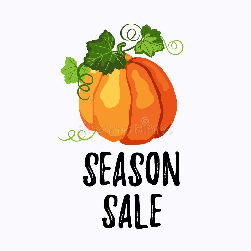 Autocollant de vente de saison avec le potiron mûr sur le blanc illustration stock
