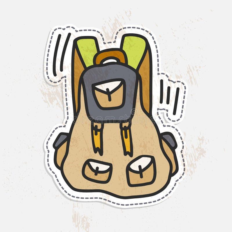Autocollant de voyage de sac à dos coloré d'aspiration de main de camping Rétro illustration de touristes de vecteur de sac à dos illustration stock