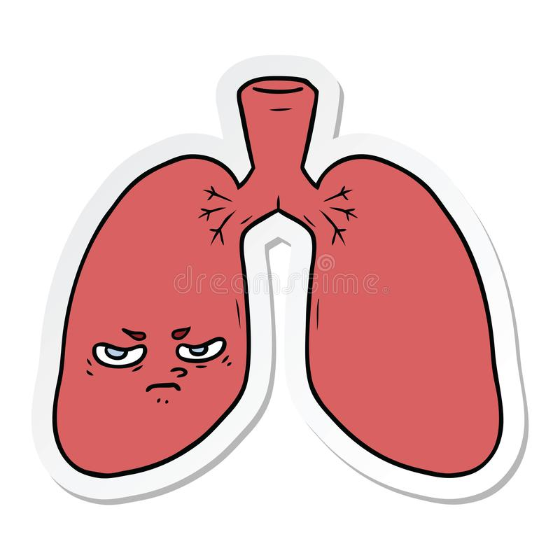 autocollant des poumons f?ch?s d'une bande dessin?e illustration de vecteur