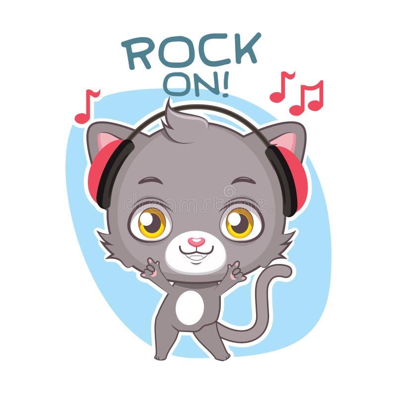 Autocollant dr?le avec le chat gris mignon - basculant  illustration libre de droits