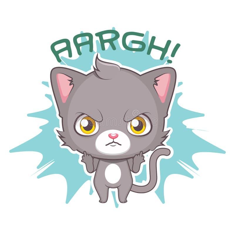 Autocollant dr?le avec le chat gris mignon - f?ch? contre quelque chose/quelqu'un illustration de vecteur