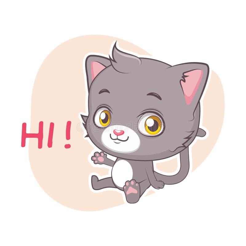 Autocollant dr?le avec le chat gris mignon - salutation illustration de vecteur