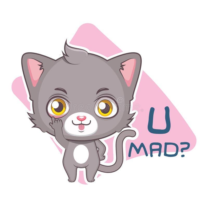 Autocollant dr?le avec le chat gris mignon - sarcasme illustration stock