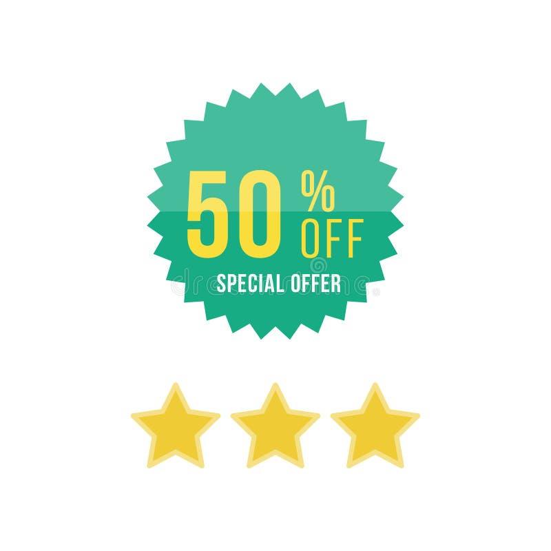 Autocollant et étoiles verts avec 50 outre de la remise Calibre de l'emblème avec l'offre spéciale ENV plate 10 illustration stock