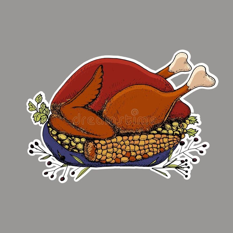 Autocollant heureux de thanksgiving Illustration tirée par la main de vecteur Roas illustration stock