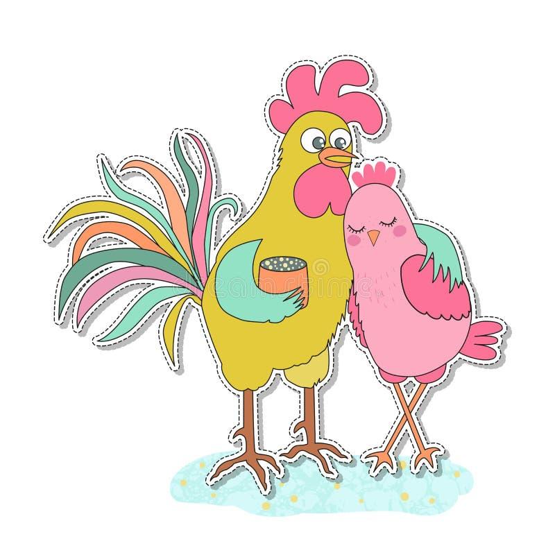 Autocollant mignon de coq et de poule illustration stock