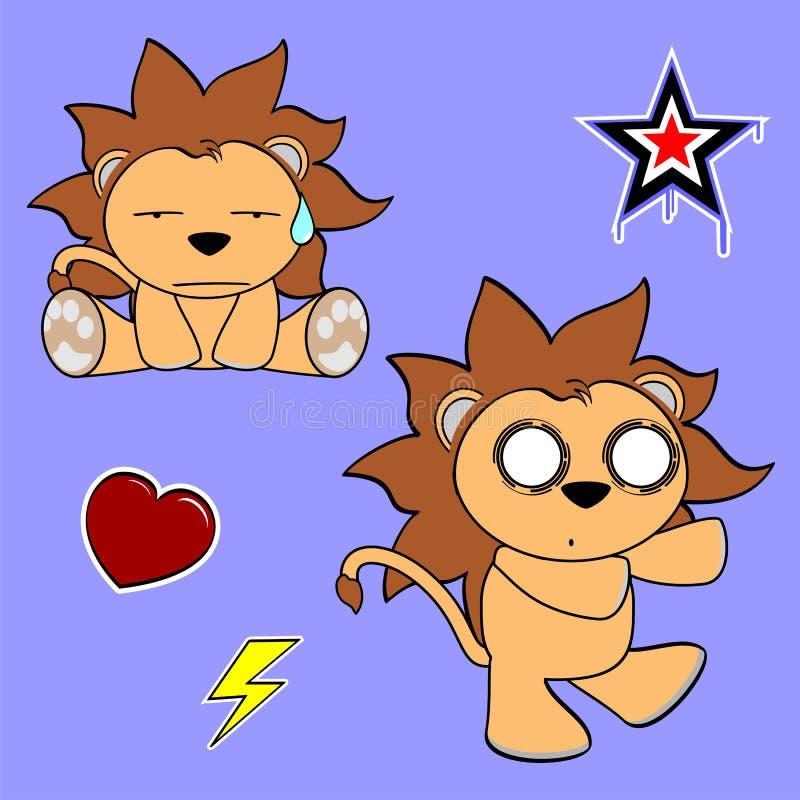 Download Autocollant Mignon Set8 De Bande Dessinée De Lion Illustration de Vecteur - Illustration du blanc, enfant: 45360068