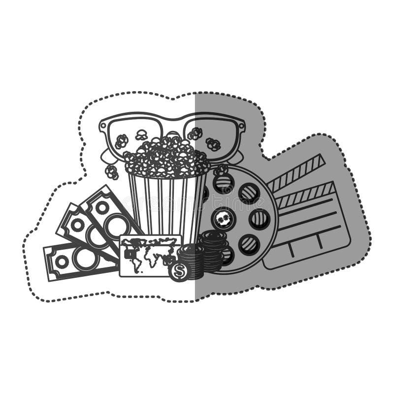 autocollant monochrome de découpe avec la tasse et les verres 3D de maïs éclaté et billets d'argent et de film et panneau de band illustration libre de droits