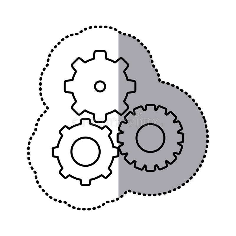 autocollant monochrome de découpe d'ensemble de pignons illustration libre de droits