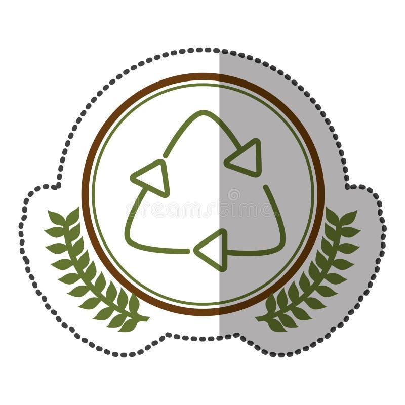 autocollant moyen d'ombre coloré avec la couronne olive avec réutiliser le symbole en cercle illustration libre de droits