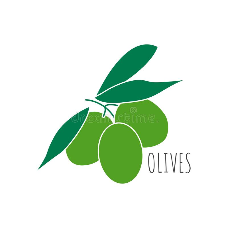 Autocollant olive d'isolement d'icône illustration stock