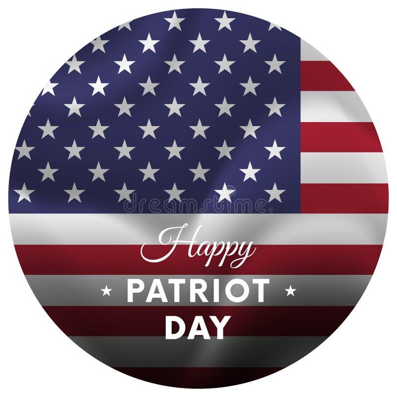 Autocollant ou bannière de jour de patriote 11 septembre Indicateur de ondulation Illustration de vecteur illustration libre de droits