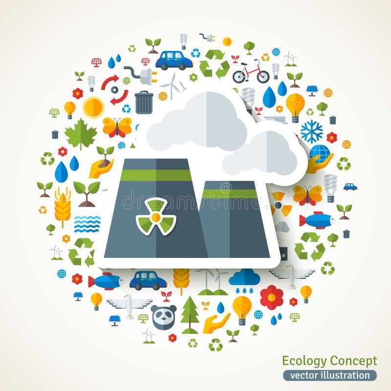 Autocollant plat de symbole de centrale nucléaire illustration de vecteur