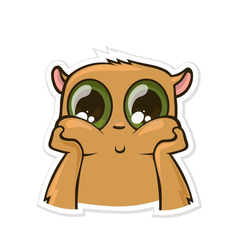 Autocollant pour le messager avec l'animal drôle Hamster rêveur et songeur Illustration de vecteur d'isolement sur le fond blanc illustration de vecteur