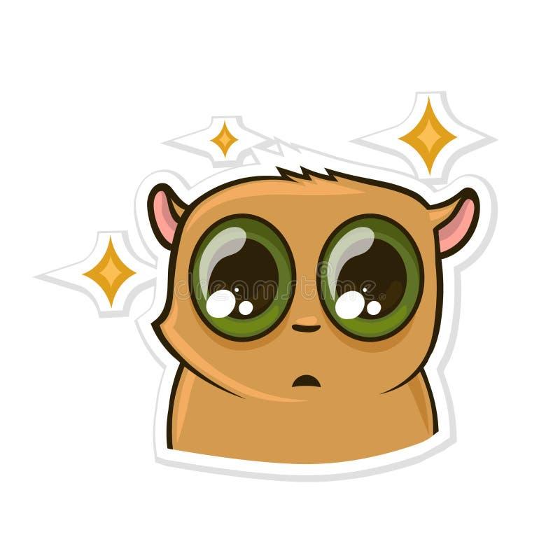 Autocollant pour le messager avec l'animal drôle PuzzledHamster Illustration de vecteur d'isolement sur le fond blanc illustration stock