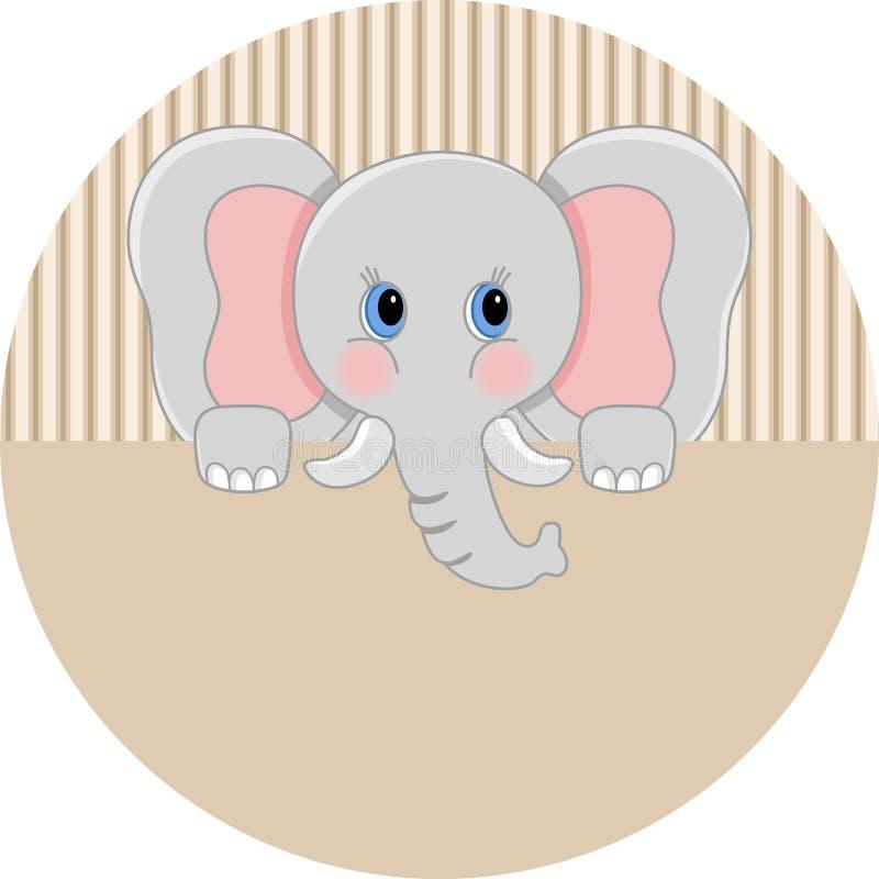 Autocollant rond d'éléphant de bébé illustration libre de droits