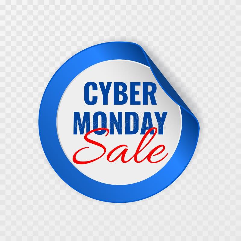 Autocollant rond de noir de vente de lundi de Cyber avec les coins courbés sur le fond transparent, illustration de vecteur illustration de vecteur
