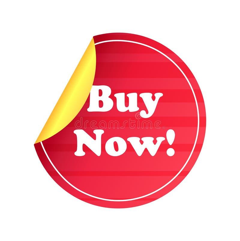 Autocollant rond de vente de prix à payer de label de promo d'acheter maintenant illustration stock