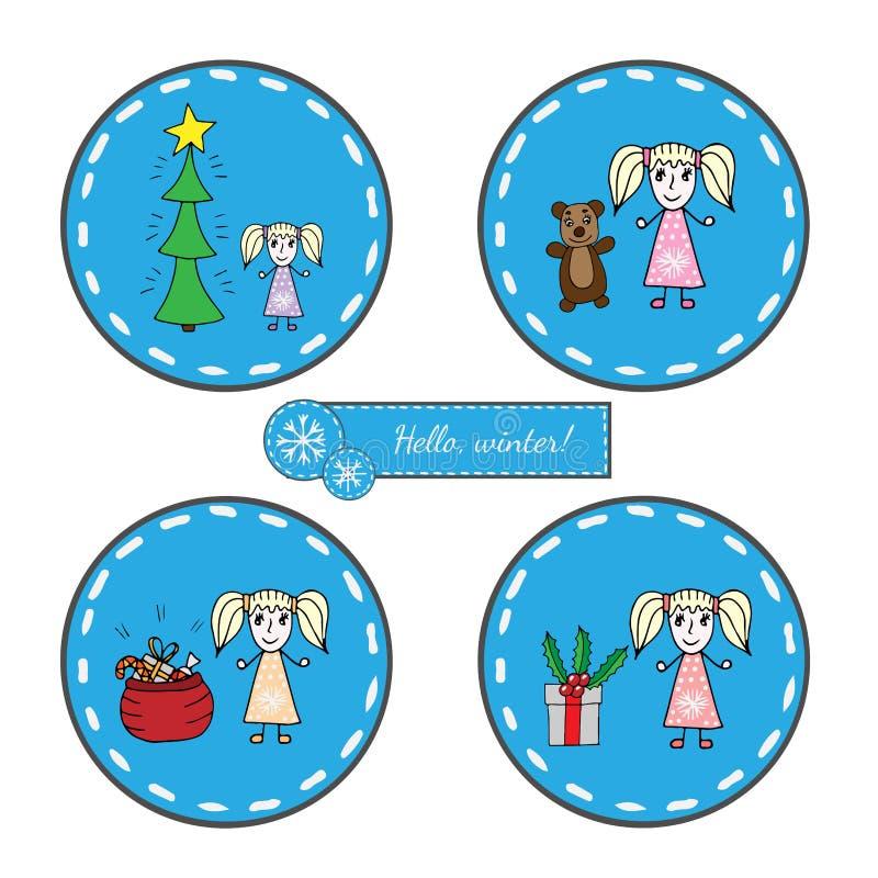 Autocollant rond réglé avec la fille avec l'arbre de Noël, le grand cadeau et la SA illustration de vecteur