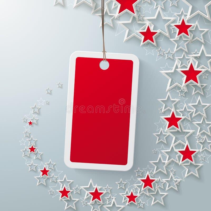 Autocollant rouge des prix avec Starsdust rouge PiAd illustration stock