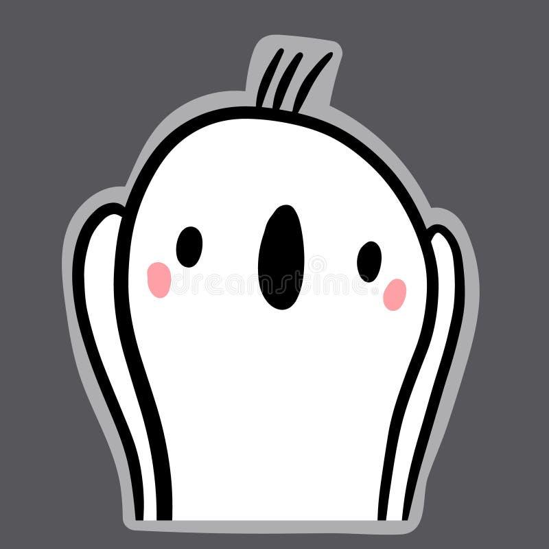 Autocollant tiré par la main d'horreur avec l'illustration d'emoji de guimauve illustration libre de droits