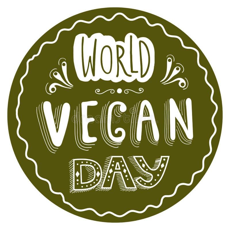 Autocollant typographique pour le jour de Vegan du monde image stock