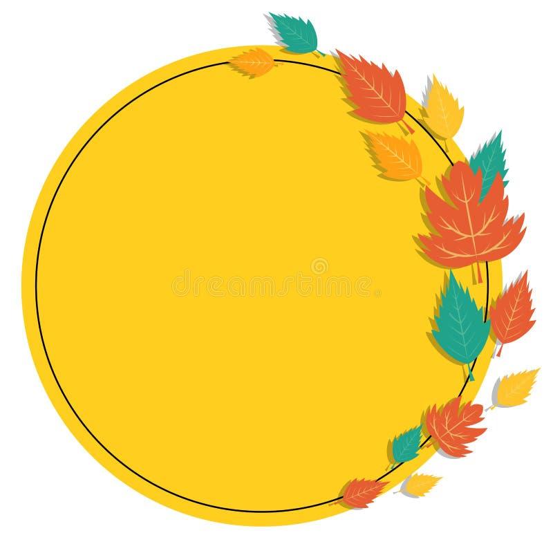 Autocollant vide circulaire avec des feuilles d'automne illustration stock
