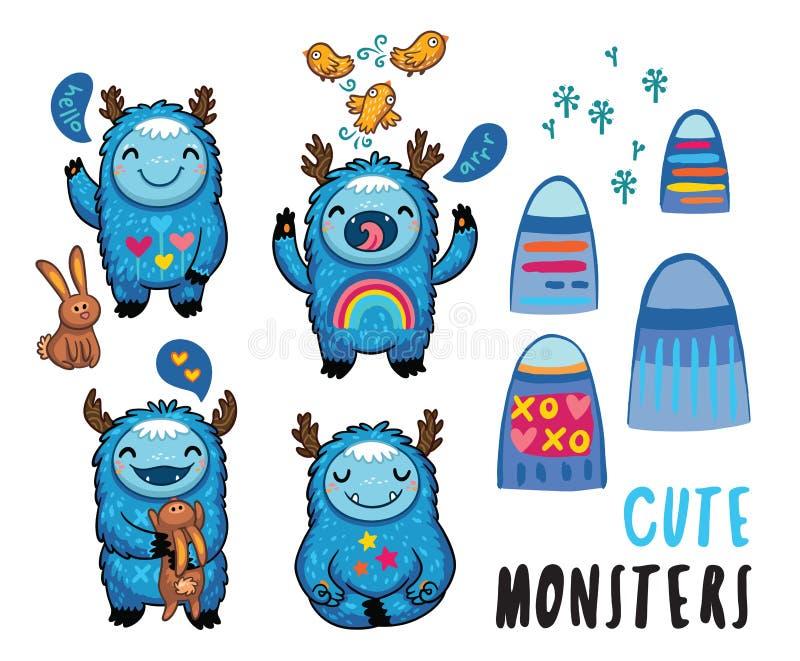 Autocollants amicaux de monstres mignons réglés Illustration de vecteur illustration stock
