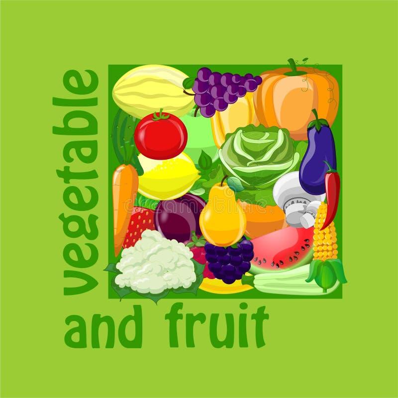 Autocollants avec des fruits et légumes de bande dessinée illustration stock