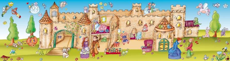 Autocollants avec la scénographie, le château enchanté illustration de vecteur