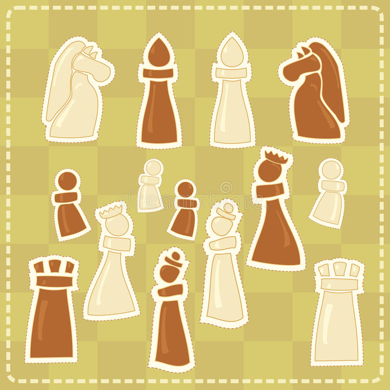 Autocollants avec les chiffres stylisés d'échecs illustration stock