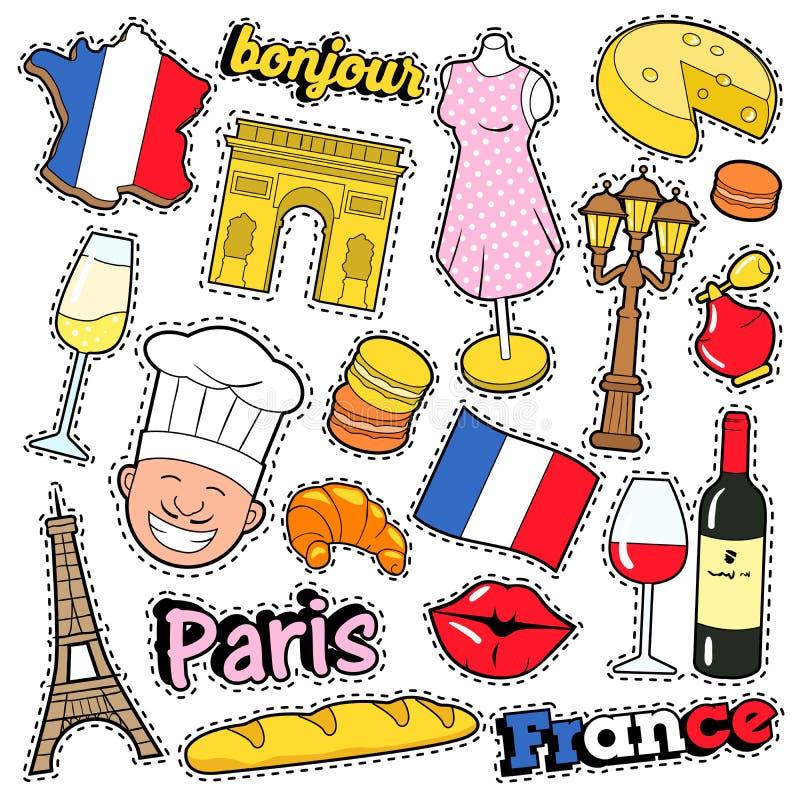 Autocollants d'album à voyage de Frances, corrections, insignes pour des copies avec le baiser, Champagne et éléments français illustration libre de droits