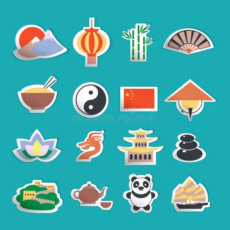 Autocollants d'icônes de la Chine illustration de vecteur