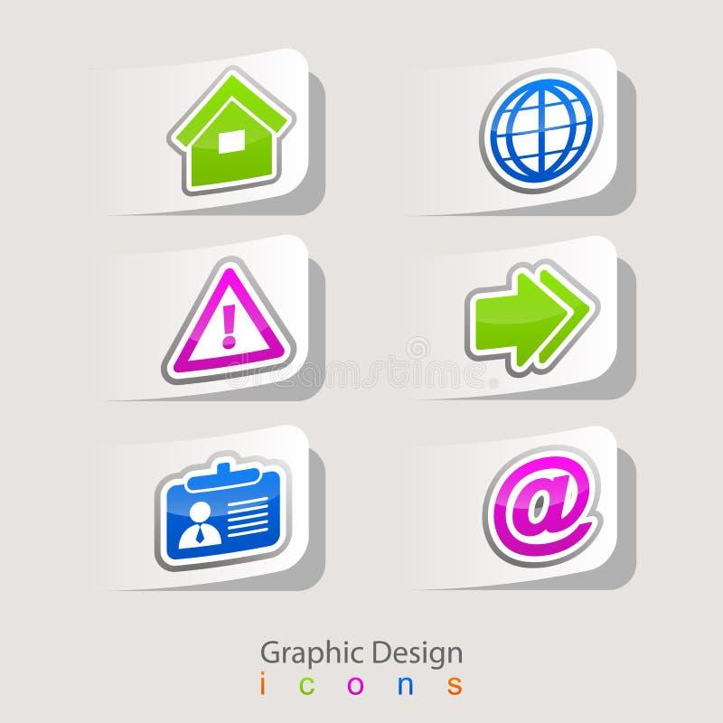 Autocollants de conception graphique réglés des icônes d'affaires illustration de vecteur