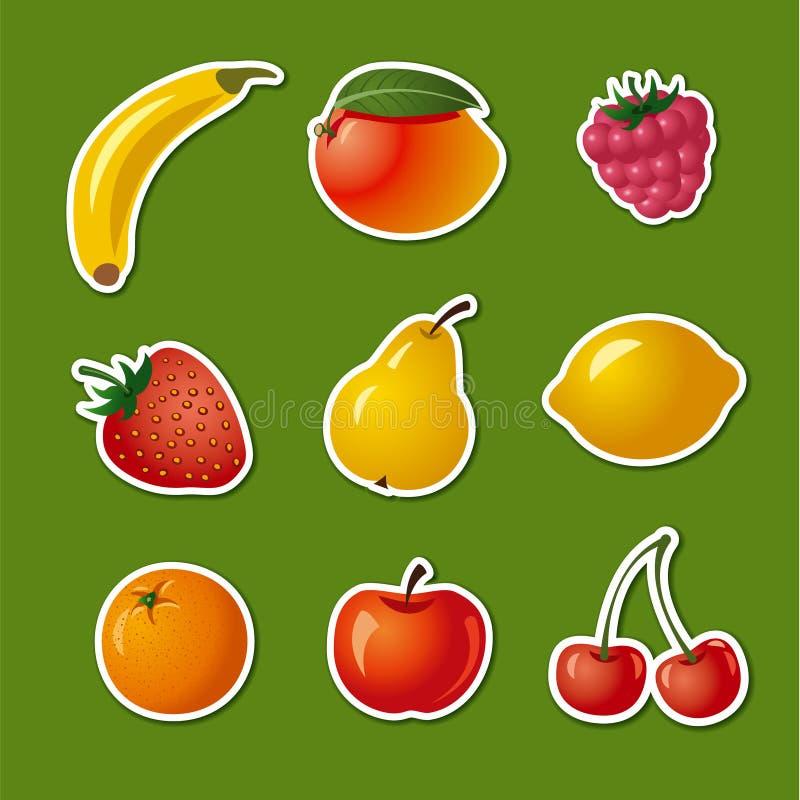 Autocollants de différents fruits illustration libre de droits