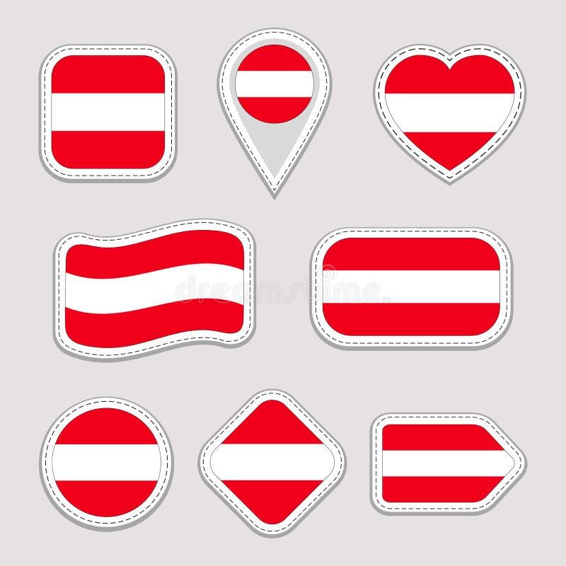 Autocollants de drapeau de l'Autriche réglés Insignes autrichiens de symboles nationaux Icônes géométriques d'isolement Le foncti illustration libre de droits