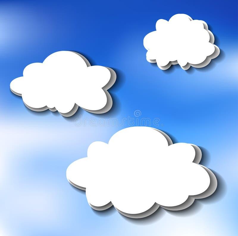 Autocollants de nuage sur le ciel illustration de vecteur