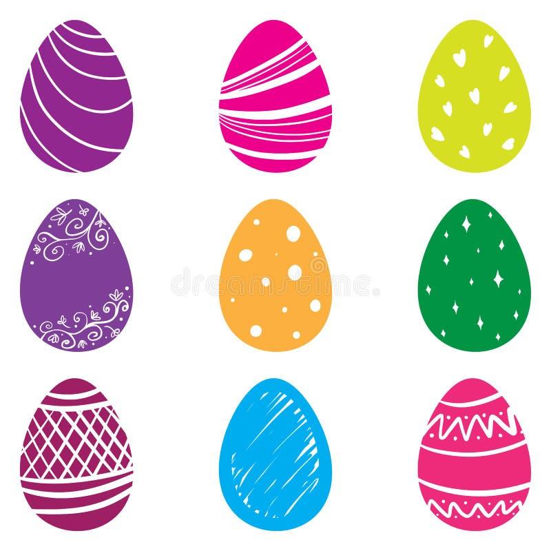 Autocollants de Pâques d'emoji d'oeufs de kawaii de vecteur photographie stock