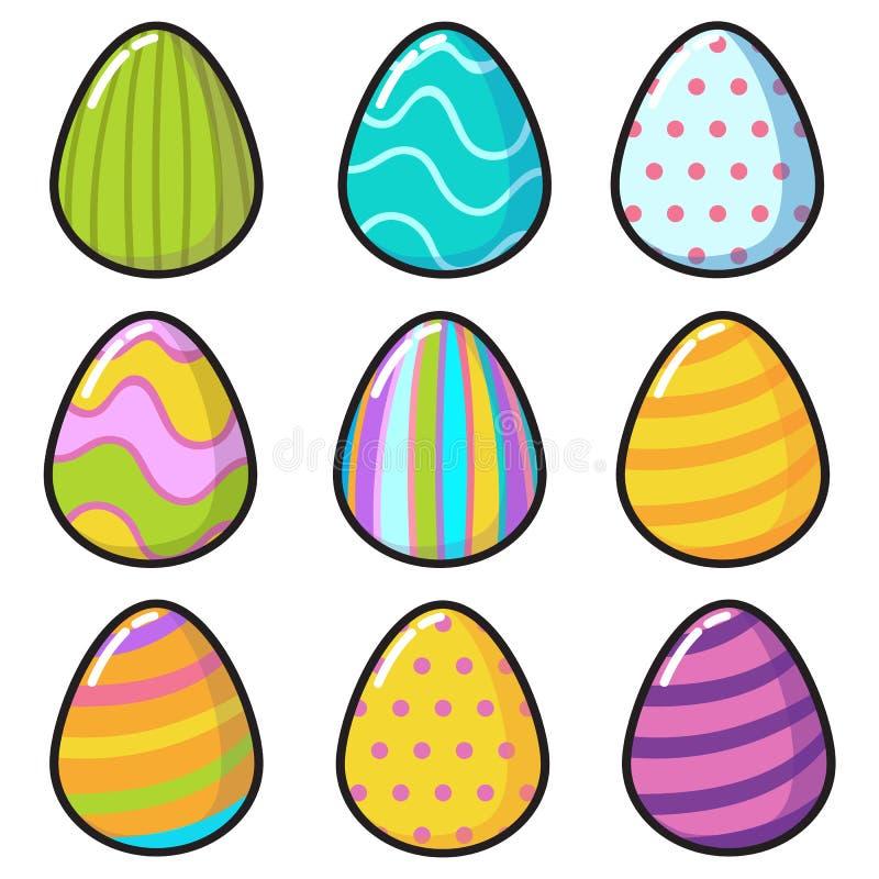 Autocollants de Pâques d'emoji d'oeufs de kawaii de vecteur photos stock